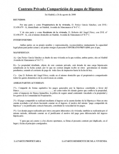 Documento Contrato Privado Compartici N De Pagos De