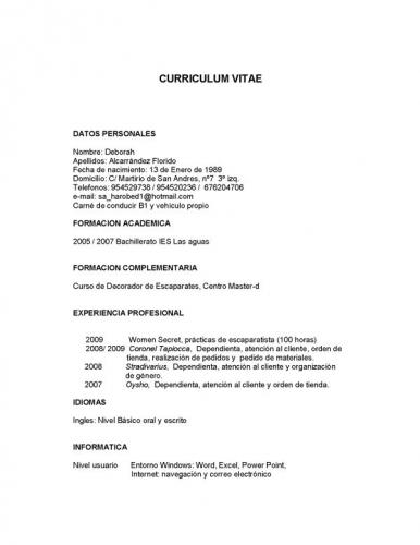 Ejemplos De Curriculum Vitae Chile Word Mesin Poliupg Ac Id