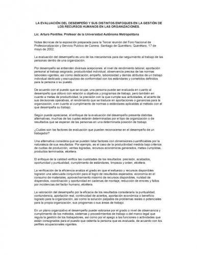 Evaluacion del desempeño y sus enfoques en la gestion del Recurso ...