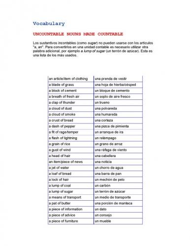 documento vocabulario nombre incontables hechos contables