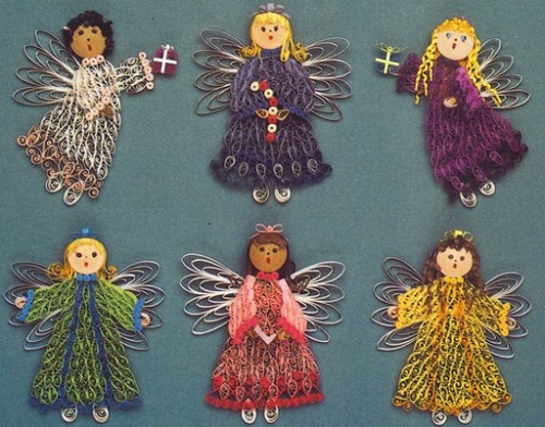 christmas photo crafts ideas - Imagen Ahi les mando estos angelitos en filigrana grupos