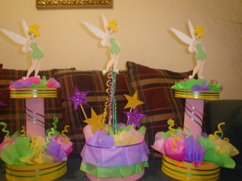 Centros de mesa de campanita como hacer imagui for Mesas cumpleanos infantiles