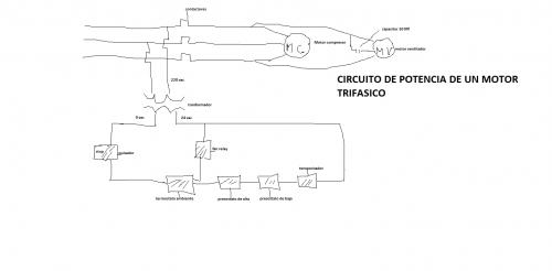 circuito de potencia de un motor trifasico
