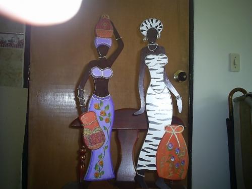 mu�ecas africanas en madera mdf