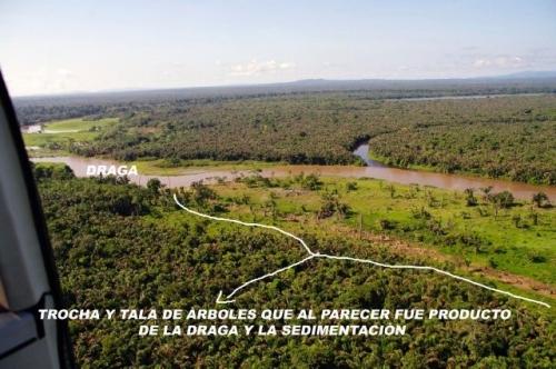 Trocha y tala de árboles en Isla Calero Costa Rica